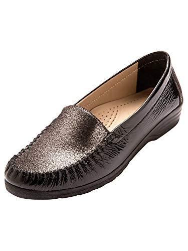 Pediconfort - Mocassins Bicolores, Largeur Confort - Femme - Taille : 37 - Couleur : Vernis Noir