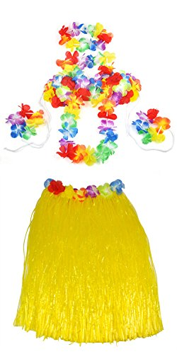 Veroda Hawaii-Bastrock mit Hula Lei Blumenkette Fancy Dress Party Kostüm-Set, 5-teilig, Gelb, (Für Hawaii Kostüme Mädchen)
