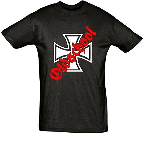 Iron Shirt Aufkleber (BDS-Folientechnik Oldschool Herren - T-Shirt Eisernes Kreuz Iron Cross)