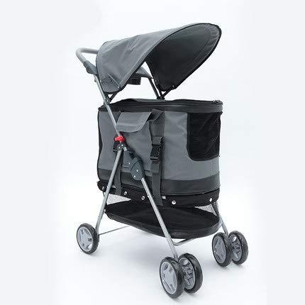 4 Wheels Pet Stroller,Katze Hundekäfig Travel Folding Carrier Mit Cup Holders Und Herausnehmbarer Liner Für Small-Medium Dog, Cat