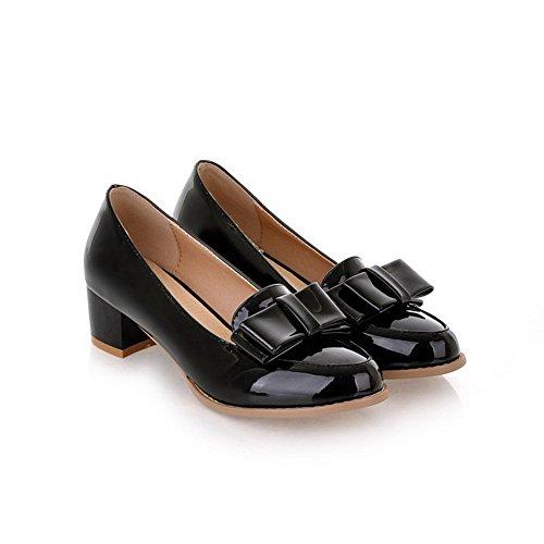 VogueZone009 Femme à Talon Correct Couleur Unie Tire Rond Fermeture D'Orteil Chaussures Légeres Noir