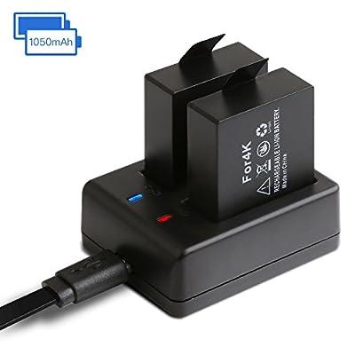 APEMAN Action Kamera Akku1050MAH wiederaufladbar (2 Stücke) mit USB Dual Battery Charger 2-Kanäle Ladegerät für APEMAN/SJ4000/SJ5000/SJ6000/SJ7000/SJ8000/Sports Camera