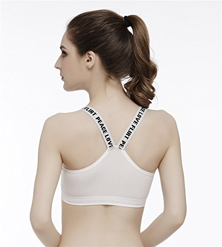YeeHoo Donne Racerback Sport Fitness Supporto yoga Bras Training bianca