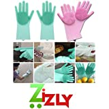 ZIZLY Magic Silicone Rubber Dish Washing Gloves for Kitchen and Pet Grooming , Car, Bathroom (13.5 x 5.5 x 1 inches, Multicolour) -1 Pair
