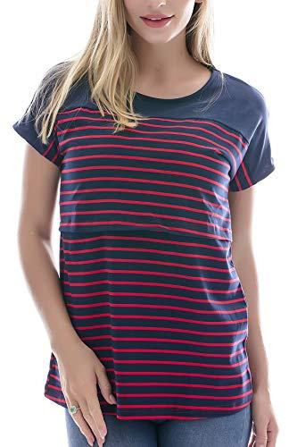 Smallshow Stillshirt Kurzarm Umstands Tshirt Umstandstop Umstandsmode Stilltop Baumwolle Schwangerschaft Streifen Shirt, Marine, XL (Marine-blau-schwangerschafts-hosen)