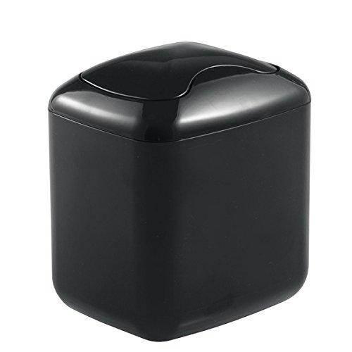 MDesign Cubo de Basura - Contenedor Basura de plástico Color Negro con 2,7 litros de Capacidad - Ideal...