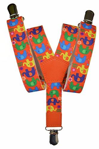 Olata Tirantes 'Y-Forma' para los Niños 1-5 años con Elefant Patrón. Naranja