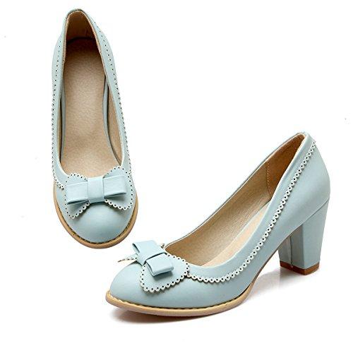 bbcd1686fa1fa6 YE Damen Chunky High Heels Pumps mit Bequem Blockabsatz Elegant Schleife  7cm Absatz Office Party Schuhe