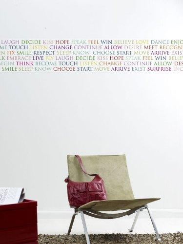 anna wand Bordüre BEAUTIFUL WORDS BUNT QUERFORMAT, 250 cm x 35 cm, Querformat, selbstklebend, für Wände und Möbel