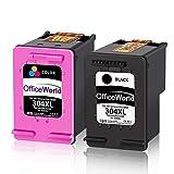 OfficeWorld Remanufacturéd HP 304XL 304 XL Cartouches d'encre (Noire, Trois Couleurs) Haut Rendement Compatible avec HP Envy 5020 5030 5032 DeskJet 2620 2630 3720 3730 3732 3735