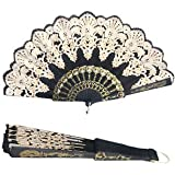 SLB Works Brand New Black Spanish Style Dance Party Wedding Lace Silk Flower Folding Fan Hand Held A