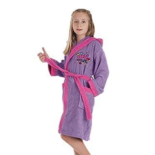 SECANETA Kinder-Bademantel für Mädchen. Bademantel für Mädchen mit aufgestickten Motiven. Power 10 a 12 años / 10 to 12 Years Old Rosa/Türkis