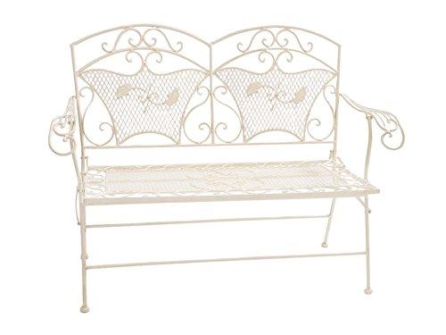 Gartenbank Eisen 25kg sehr stabil klappbar Bank Gartenmöbel antik Stil weiss