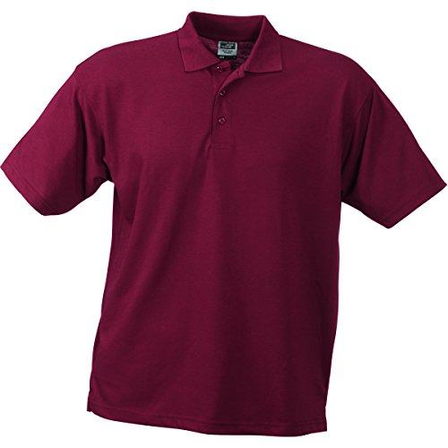 JAMES & NICHOLSON Herren Poloshirt, Einfarbig rouge bordeau