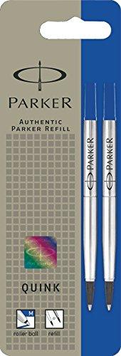Parker S0881490 Ersatzminen Quink (für Tintenroller, mittlere Strichbreite, blaue Tinte, 2er-Pack)