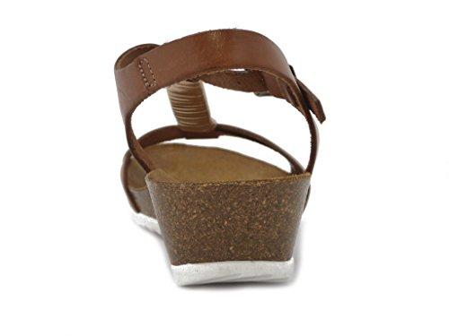 Raquel Perez Sandalo in pelle, scarpa con fondo anatomico zeppa 3cm., sottopiede in pelle e suola in gomma antiscivolo, estivo-3405 Cuoio