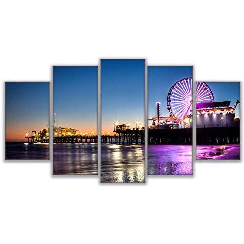 Xzfddn Leinwand Modulare Bilder Rahmen Wandkunst 5 Panel Los Angeles City In Der Nacht Hd Drucken Malerei Beliebte Bild Für Wohnzimmer Decor-40X60/80/100Cm,With Frame