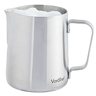VonShef Stainless Steel Milk Jug Suitable for Cream, Coffee, Latte & Frothing Milk Various Sizes
