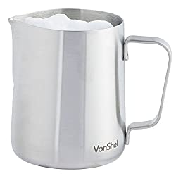 Vonshef Milk Jug Stainless Steel 945ml Suitable For Coffee, Latte & Frothing Milk Available In 330ml, 600ml & 945ml