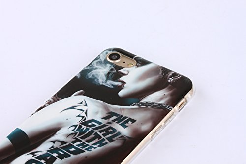 iPhone 6S Silicone Case,iPhone 6S Coque - Felfy Coque Souple Transparente TPU Silicone cadre et Plastic Back Case Premium Ultra-Light Ultra-Mince Skin de Protection Anti-Choc Bumper pour Apple iPhone  Fumer Tattoo Girl