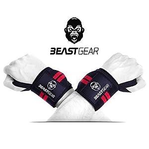 Beast Gear Handgelenkbandage – 2x Handgelenkstütze / Wrist Wraps für Sport, Fitness & Bodybuilding -Stabilisierend & Schützend – auch bei sehr hohen Gewichten & Belastungen