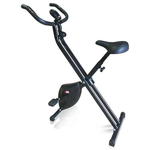 XS Sports Magnetic Foldable Folding Exercise Bike-X-Bike Cardio Fitness Workout Machine with Pulse & Computer - Latest 1.6kg Flywheel