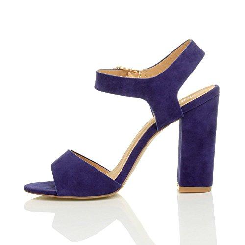 Donna tacco alto fibbia casual con cinturino alla caviglia sandali scarpe numero Blu Cobalto Scamosciata