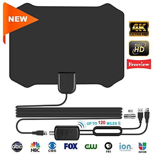 TV Antenne, 120 Miles Digitale HDTV-Antenne mit Signalverstärker für Alle Arten von Home Smart Fernseher DVB-T, Zimmerantenne für Fernseher VHF UHF (Home-antenne Für Tv)