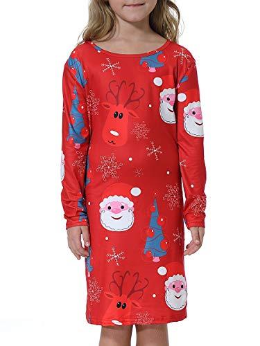 BesserBay Mädchen Kleider Weihnachten Langarm Kleid Festlich Partykleid A-Linie Kleid