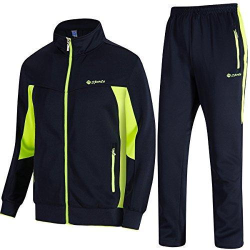 TBMPOY Herren Trainingsanzug Sport Casual Full Zip Sweatsuit - - S Fleece Full Zip Suit