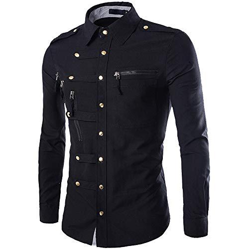 Qinsling felpa con cappuccio in pile recon tattico, t-shirt camicia da uomo a maniche lunghe con cerniera multi-bottone