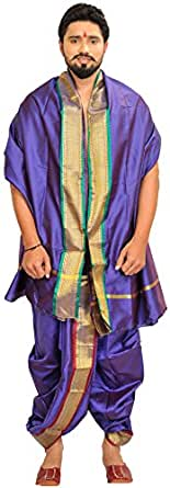 Exotic India Ready to Wear Dhoti and Veshti Set with Woven Golden Border - Color Deep BlueGarment Size Free Size