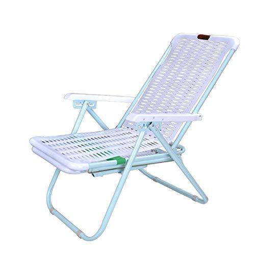JFya Klappstuhl liegend Sommer verstärkt einfache Outdoor-Strandkorb Balkon Kunststoff Lounge Chair Mittagspause Klappstuhl Open-Air wasserdichter Stuhl