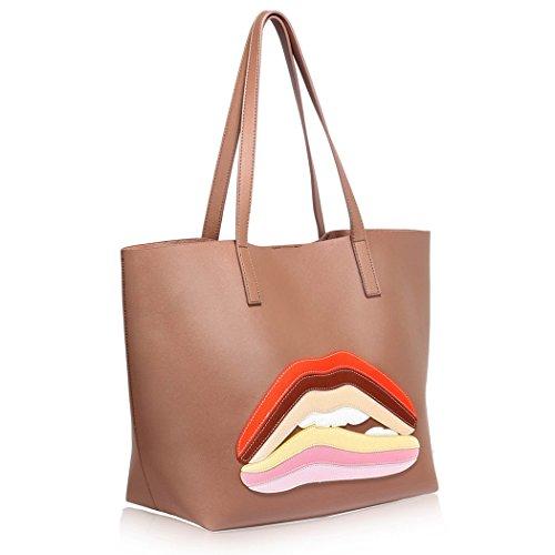 LeahWard® Groß Damen Tragetaschen nett Groß Marke Handtaschen Handgepäck Kabine Gym Reise Arbeit Tasche Zum Damen61 Nude Shopper Tasche