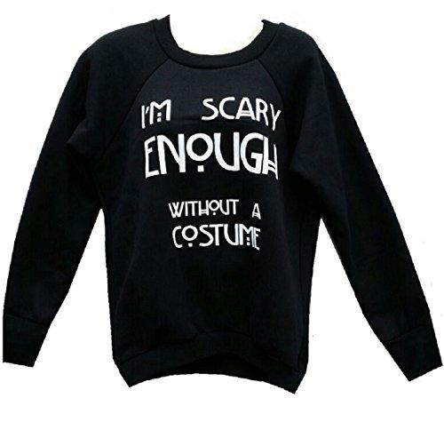Kind Black Cat Kostüme (Damen Mädchen Halloween Scary Cat & Im Scary genug, auch ohne Kostüm Sweatshirt Größe 36-42 (S/M (EUR 36-38), Im scary Enough Without Costume Sweatshirt-)