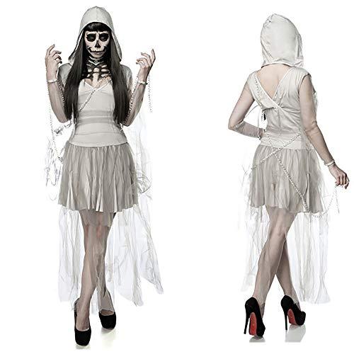 MIAO Halloween Cosplay Kostüm Erwachsene Cosplay Zombie Kostüm Weibliche Geist Braut Kostüm Hell Göttin Masquerade Kostüm Geeignet Für Karneval Thema Parteien,White,OneSize (Masquerade Joker Halloween-kostüm)