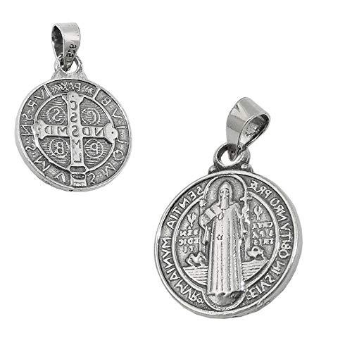 Dreamlife Anhänger 14mm religiöse Medaille Sankt Benedikt Silber 925