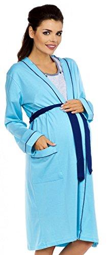 Zeta Ville Maternité Robe de chambre Chemise de nuit - Mélangez et Combinez 393c Robe de chambre - Bleu Clair