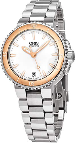 Oris Aquis White Dial Stainless Steel Ladies Watch 73376524356MB