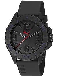 Puma Rock Unisex Quarzuhr mit schwarzem Zifferblatt Analog-Anzeige und schwarz PU Gurt pu103801005