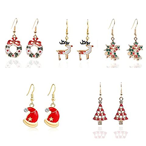 DESCHMUCK Christmas Cute Dangle Earrings Set for