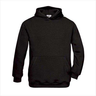 B&C - Kinder Kapuzen-Sweatshirt 'Hooded Sweat' 3/4 (98/104),Black (Kapuze Bc)