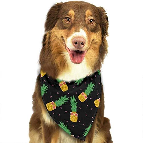 Wfispiy Ananas mit Sonnenbrille auf schwarzem Muster Ostern Dog Bandana Reversible Dreieck Lätzchen für Hunde Haustier Tiere
