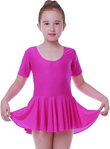 Mädchen Ballett Tutu Tütü Balletkleid Kindertanzkostüme Trikots Tanz Leotards Kleider(Kurze ärmel rose, Höhe 135cm)