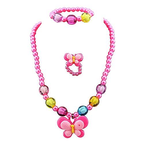 3Stück Mädchen Gelb Ente Butterfly Candy Bead Ring Halskette Armband Schmuck Set