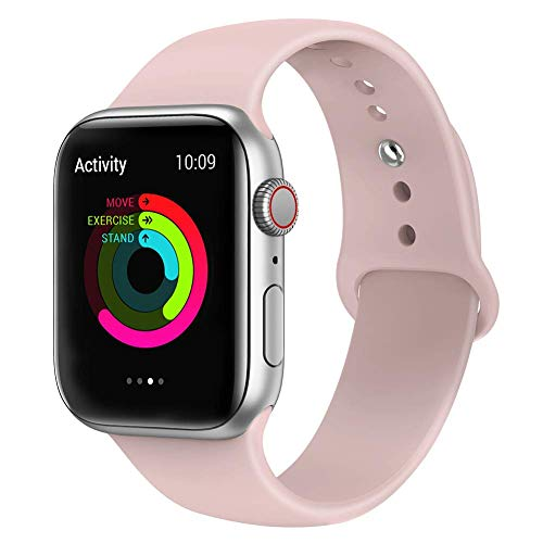 Tervoka Ersatz Armbänder für Apple Watch Armband 40mm 38mm, Weiche Silikon Ersatz Armbänder für iWatch Armband Series 4/3/2/1, S/M, PinkSand