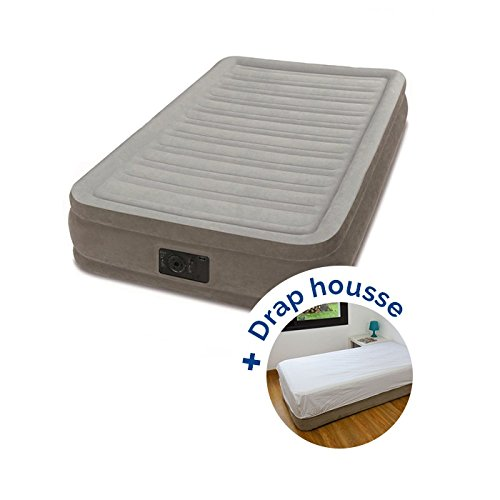 Pack Matelas électrique Gonflable 1 Place Intex Mid Rise + Drap Housse