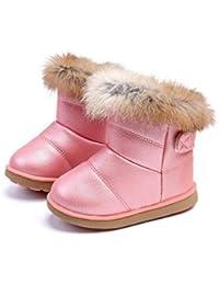 Botas de Nieve para niños otoño e Invierno cómodo Cuero Suave Fondo más Terciopelo Grueso Antideslizante Botas de algodón de Nieve Resistentes bebé Zapatos de algodón de niño pequeño