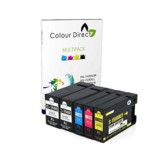 5 (1 Set+ 1 Schwarz) Colour Direct PGI-1500XL Kompatibel Tinte Kartuschen Ersatz Zum Canon MAXIFY MB2050, MB2150, MB2155, MB2350, MB2750, MB2755 Drucker.