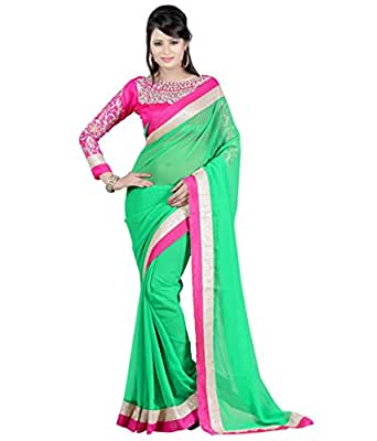 Winza Designer Georgette Saree with Blouse Piece (NECKLACE_Green_Free)